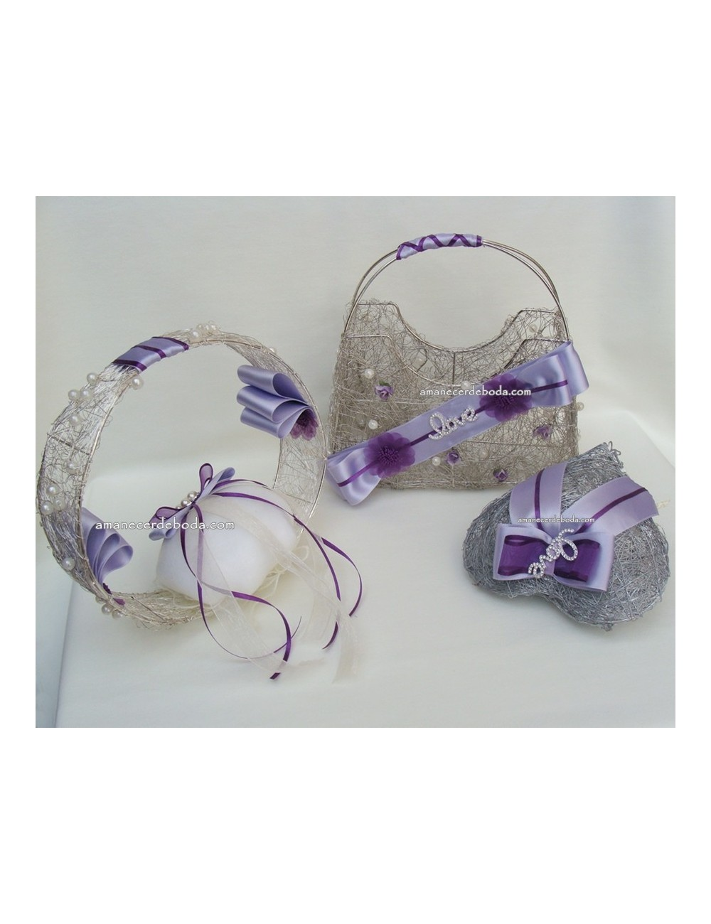 Juego anillos boda, arras y petalos