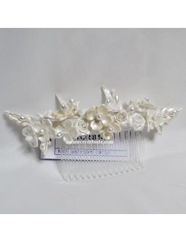 Tocado novia porcelana fría