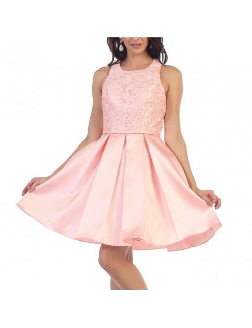 Vestido fiesta rosa Zenda
