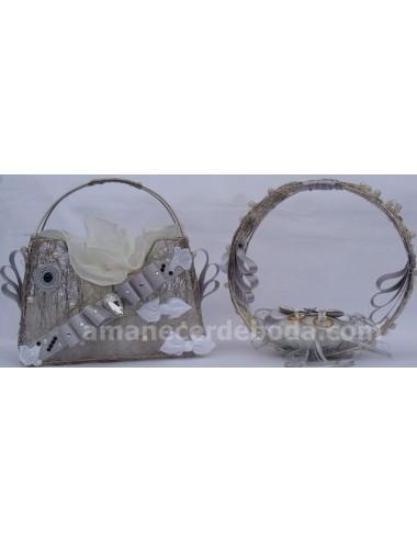 Cojin porta anillos y cesta arras