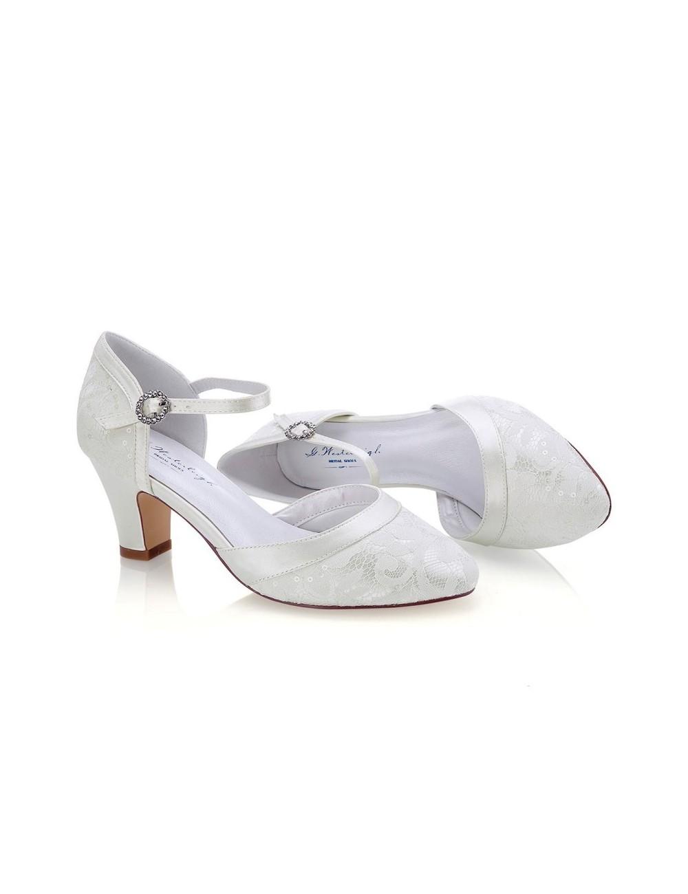 Zapato Novia tacón bajo y ancho