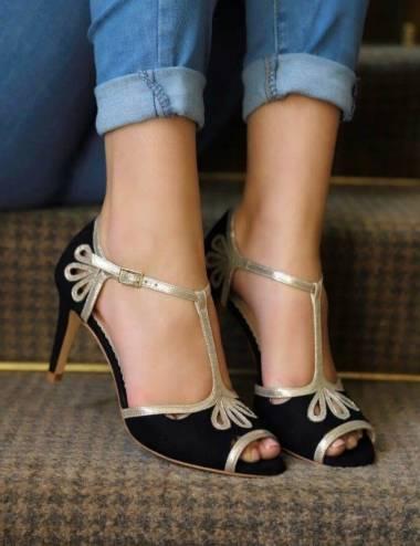 Zapatos fiesta negro y dorado