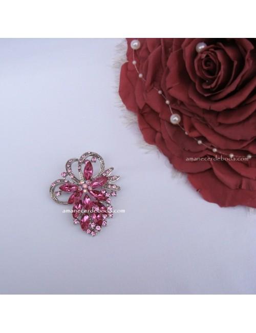 Broche Ramo Novia rosa