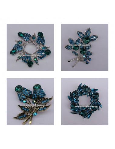 Pack Broches Ramo Novia Azul