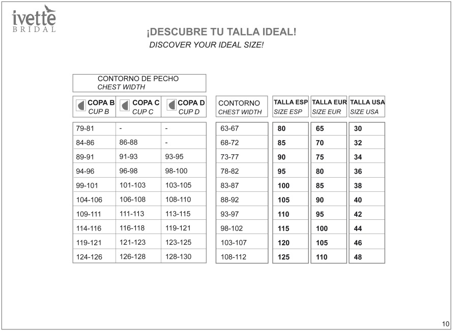 Tabla de tallas Ivette Bridal